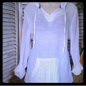 Other - Classy White Beachwear Cover up or Top w/Hood